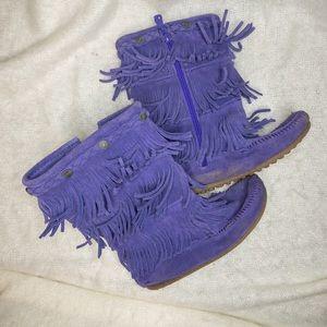 Purple Minnetonka Leather Fringe Moccasin Boots